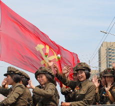 Female soldiers at military parade in North Korea