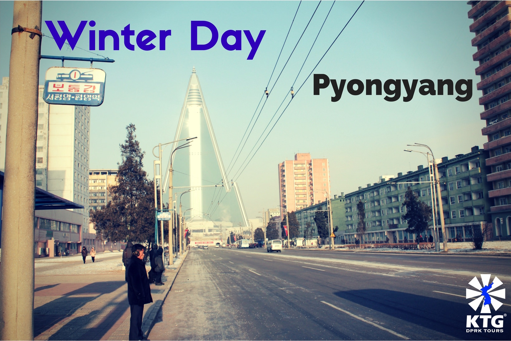 Winter in Pyongyang with KTG. Views of the Ryugyong Hotel