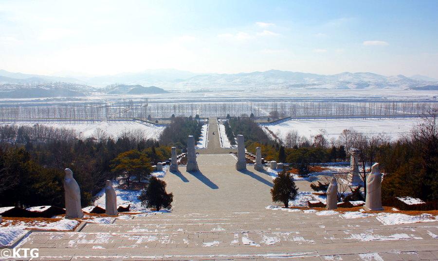 Vistas desde la tumba del Rey Tangun a las afueras de Pyongyang en Corea del Norte