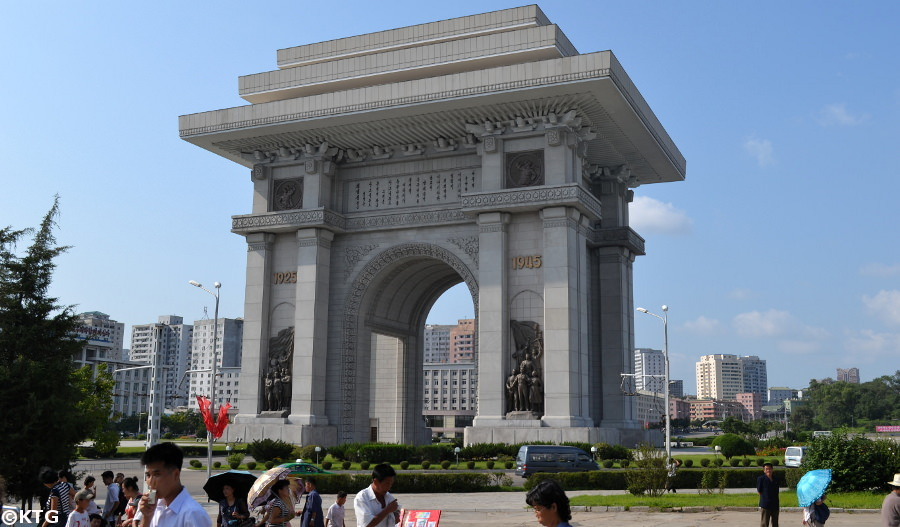 Arch of Triumph in Pyongyang North Korea with KTG Tours in the summer on our Liberation Day Tour