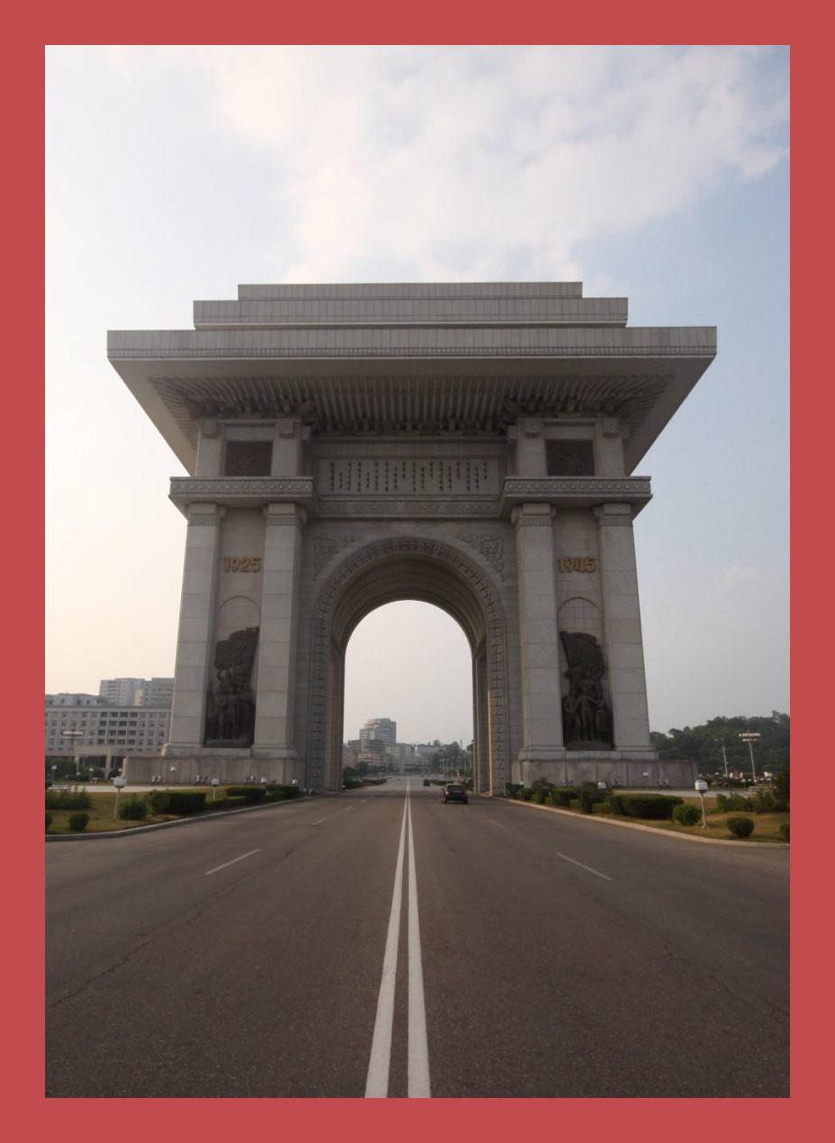 Arch of Triumph in Pyongyang capital of North Korea. Trip arranged by KTG Tours