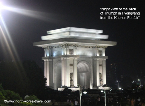 Arch of triumph in North Korea seen at nightime