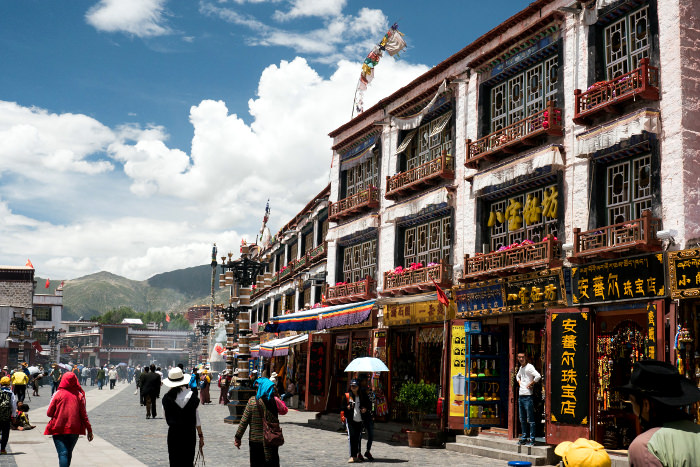 Shops in Barkhor square around Jokhang Temple in Lhasa, Tibet, China