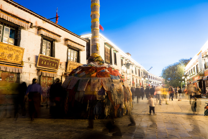 Evening in Barkhor around Jokhang temple in Lhasa, Tibet, China