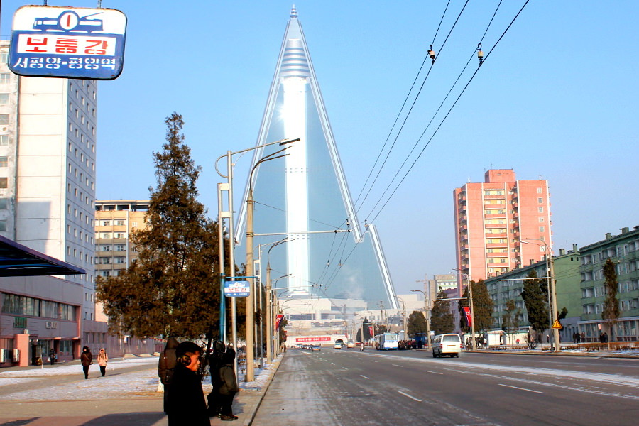 Ryugyong Hotel in Pyongyang seen in Winter (a KTG picture)