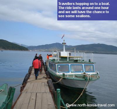 Paseo en barco por el islote Pipha en Rason, Corea del Norte