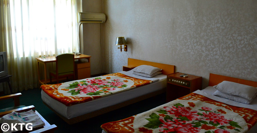Twin room, the Changgwangsan Hotel in Pyongyang. This is used as an option for budget accommodaiton in North Korea