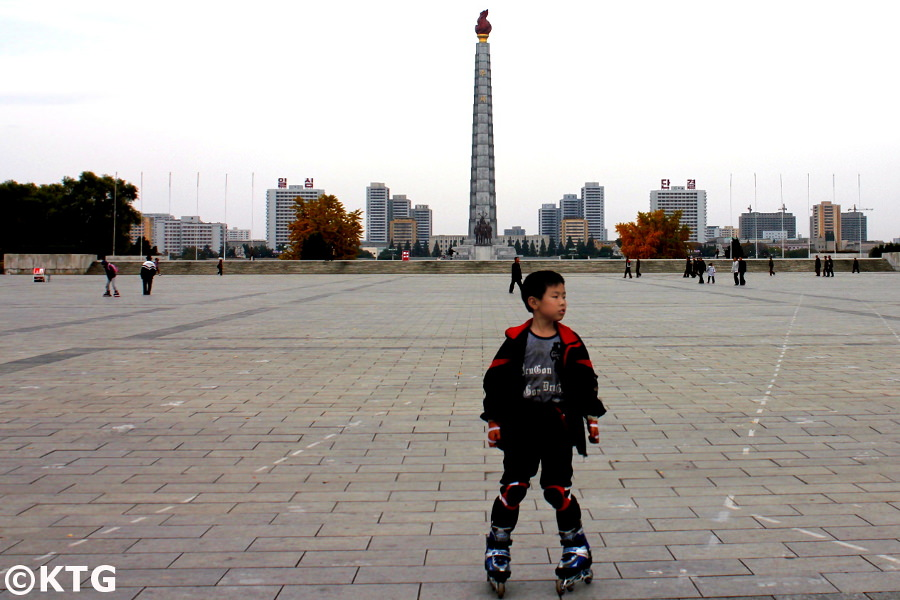 Child roller skating at Kim Il Sung Square, Pyongyang, North Korea. Picture taken by KTG Travel