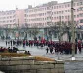 Children marching in Hamhung