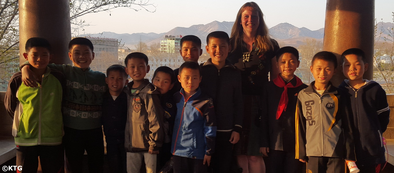 Children in Sariwon gather for a picture with a KTG traveller