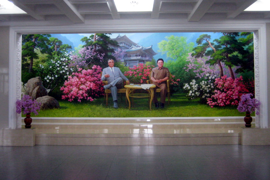 Portrait of DPRK leaders President Kim Il Sung and Chairman Kim Jong Il at the lobby of the Chongchon hotel in Myohyangsan, North Korea, DPRK. Tour with KTG