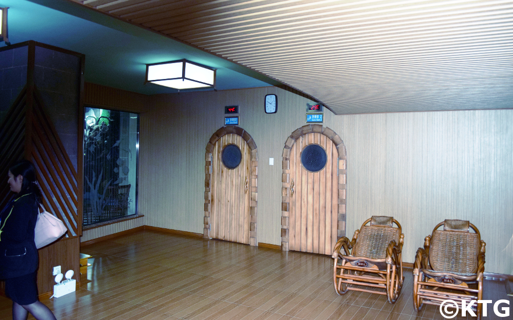 Sauna at the Youth Hotel in Pyongyang, North Korea