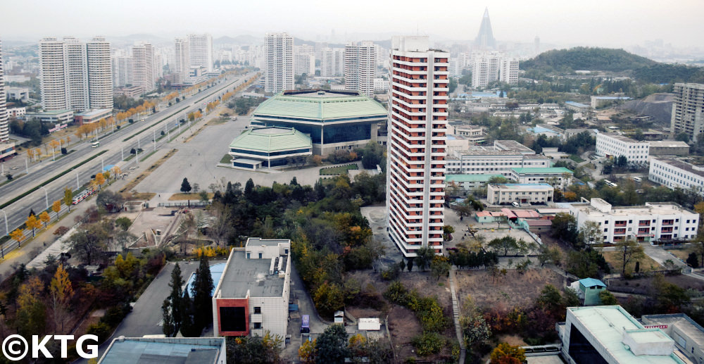 Views of Pyongyang Circus and Kwangbok street from The Chongnyon Hotel (Youth Hotel) in Pyongyang, North Korea (DPRK)