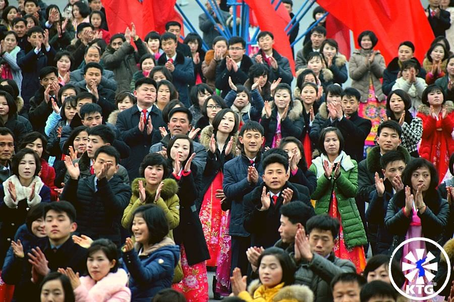 North Koreans clapping hands at some mass dances in Pyongyang, capital city of the DPRK i.e. North Korea. Trip arranged by KTG Tours