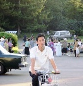 Cyclist in North Korea
