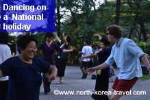 Dancing with North Koreans on the RRDK National Day. We usually join locals for the RRDK National Day
