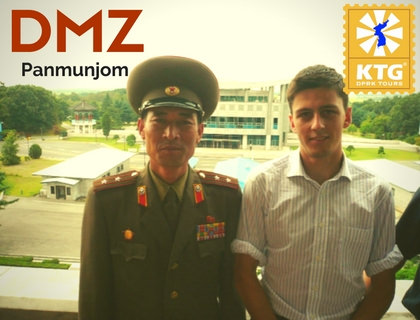 KTG staff member in 2008 with DPRK officer in Panmunjom in North Korea