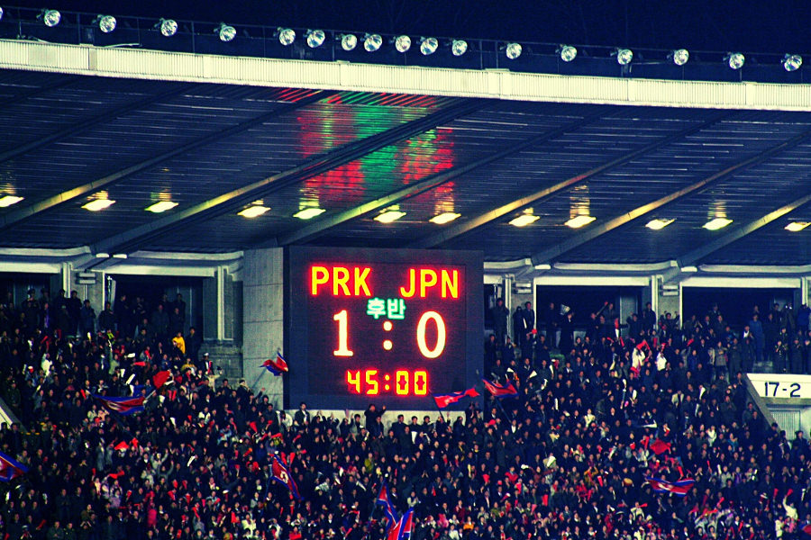 Corea del Norte 1 - Japón 0, partido de clasificación para la copa mundial de fútbol, Estadio Kim Il Sung, Pyongyang, RPDC