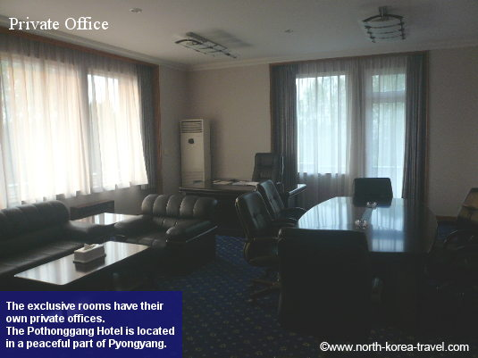 Exclusive rooms in the Pothonggang Hotel come with their private offices. The hotel is located in a tranquil part of Pyongyang