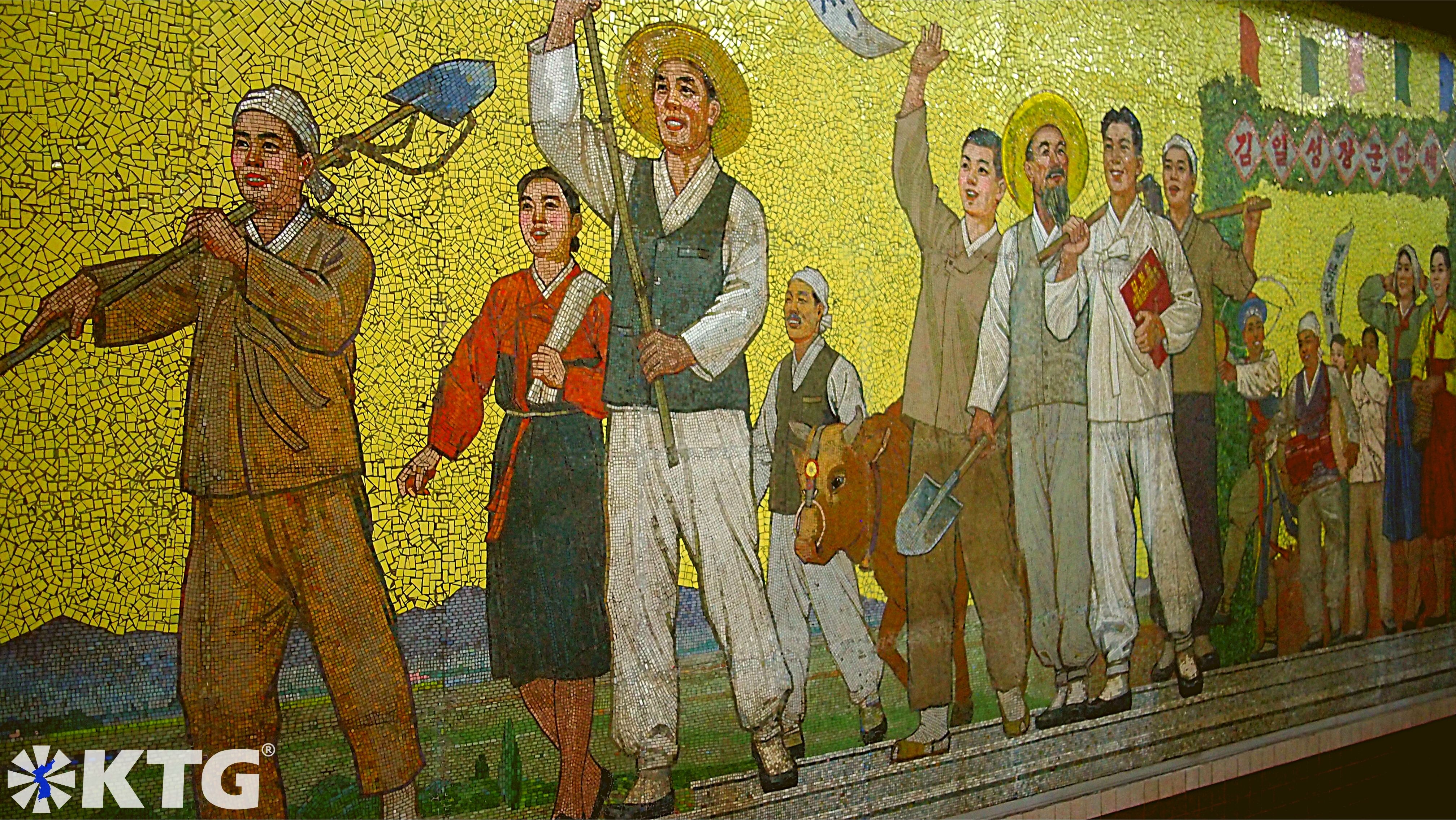 Farmers depicting in a mural in a Pyongyang metro station, DPRK. Picture of North Korea taken by KTG Tours