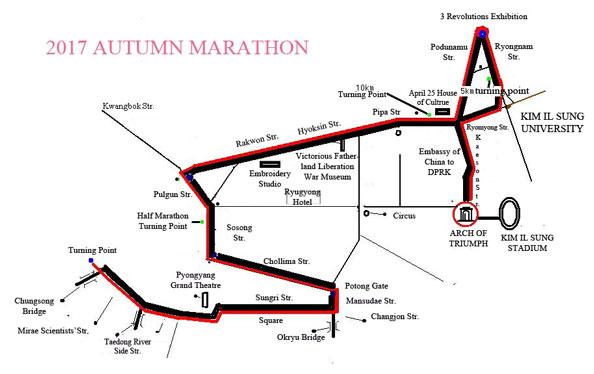 Pyongyang Autumn Marathon Route Map