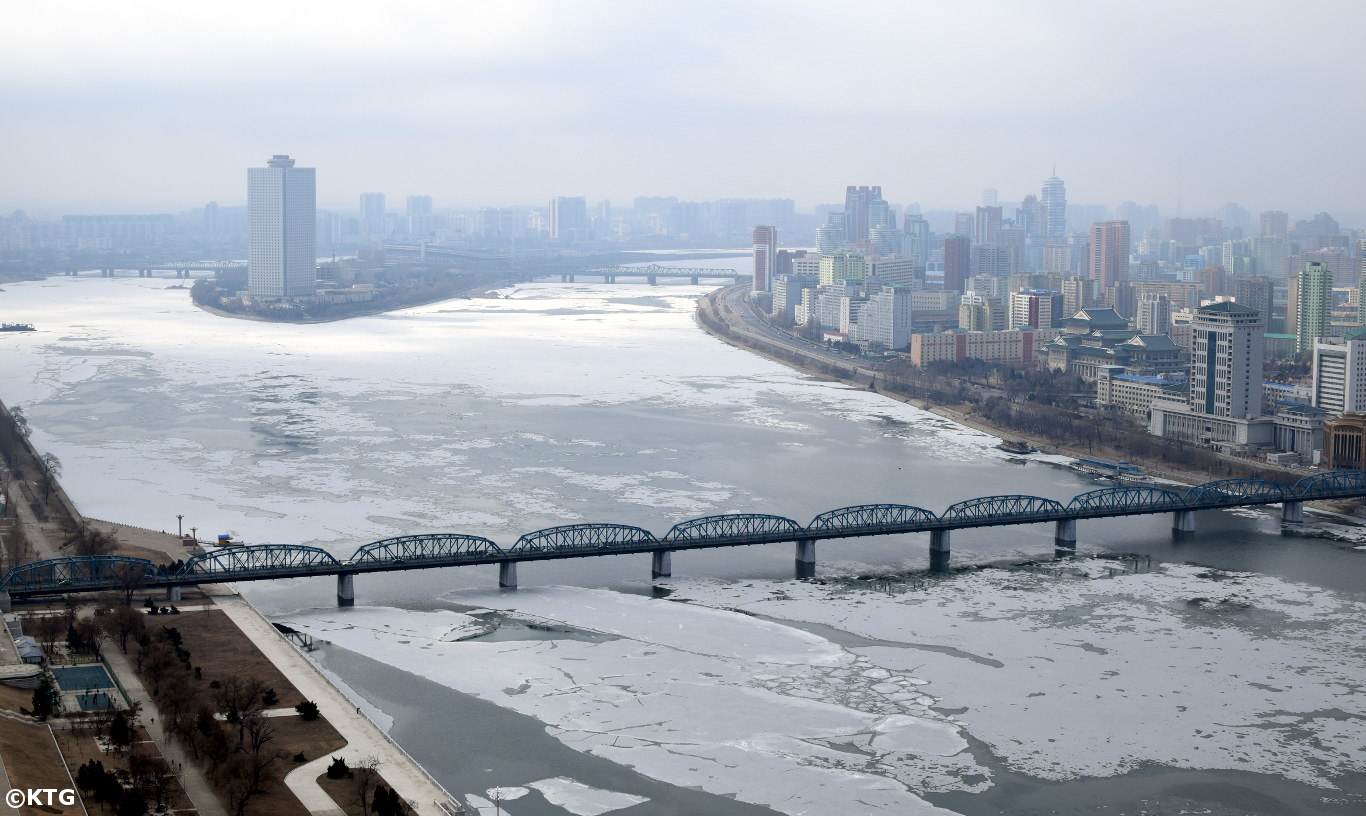 Frozen Taedong River, Pyongyang, North Korea (DPRK)