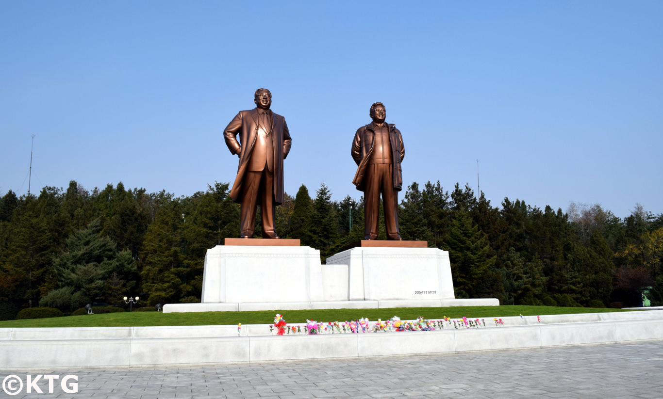 Monuments of the Great Leaders of North Korea, President Kim Il Sung and Chairman Kim Jong Il, in Nampo city (DPRK)
