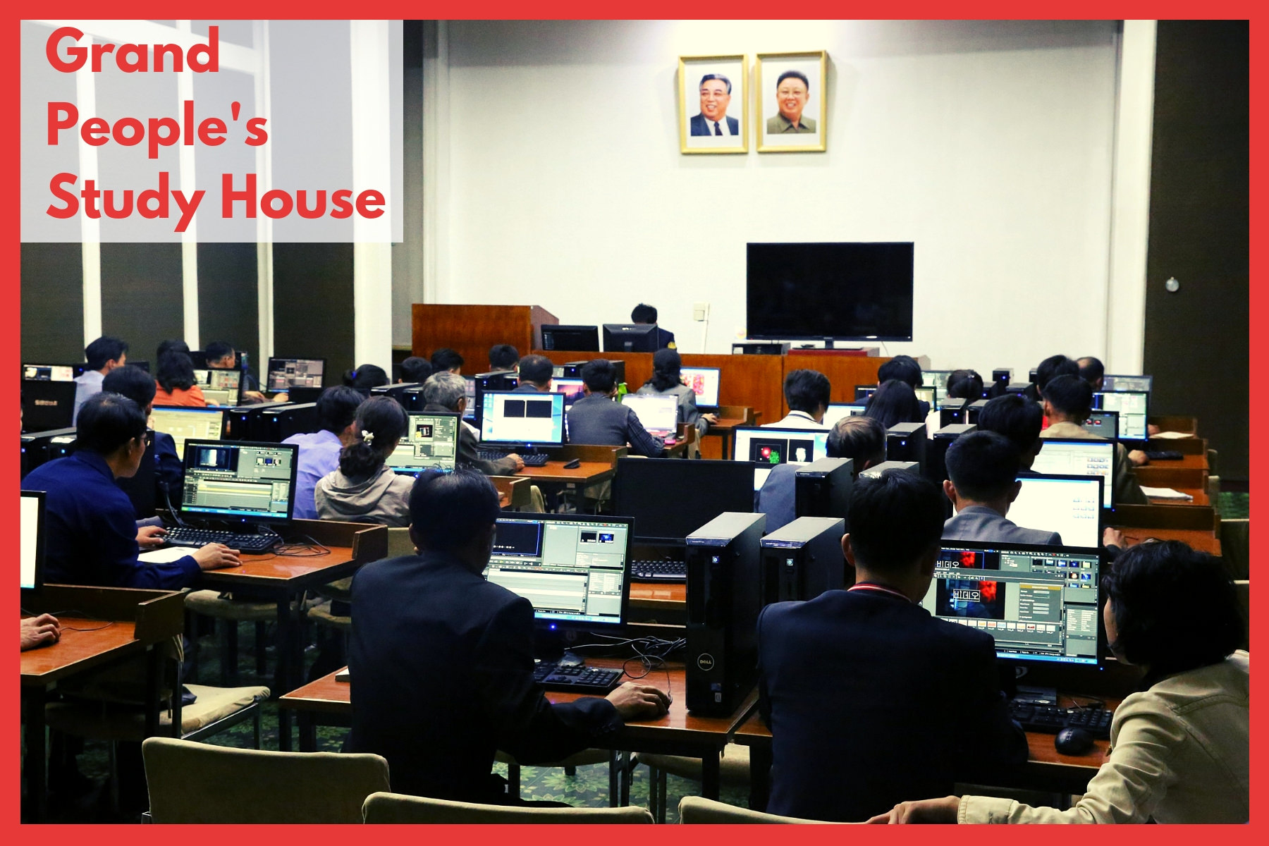 Lesson at the Grand People's Study House in Pyongyang, North Korea. Picture taken by a KTG traveller. The Grand People's Study House is a study centre and library. Lessons and lectures are held here for workers, students, etc