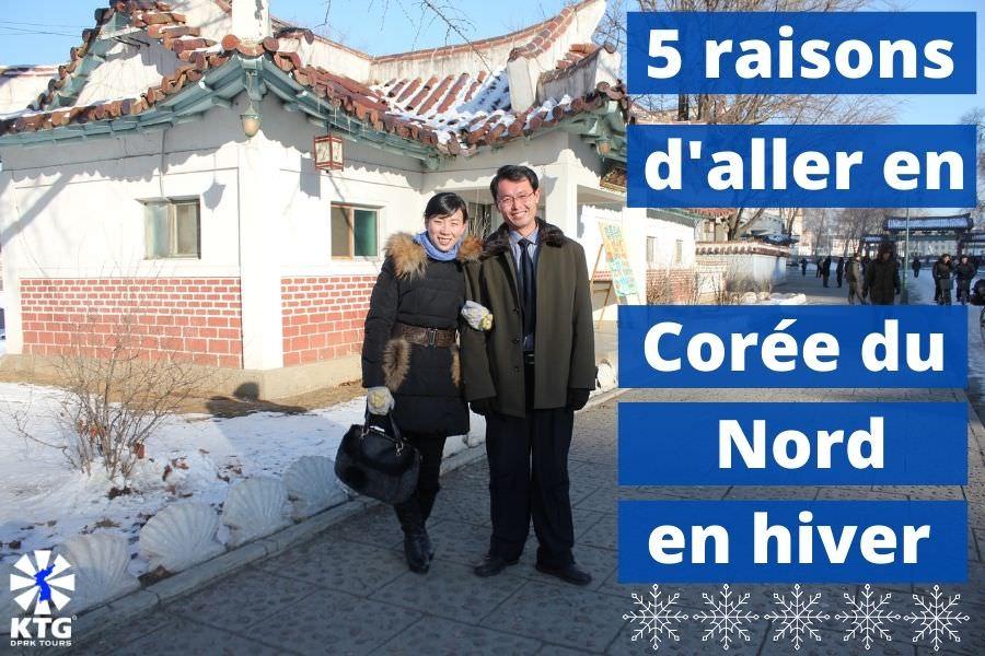 Guides locaux nord-coréens dans la ville de Sariwon, RPDC en décembre. Voyage organisé par KTG Tours