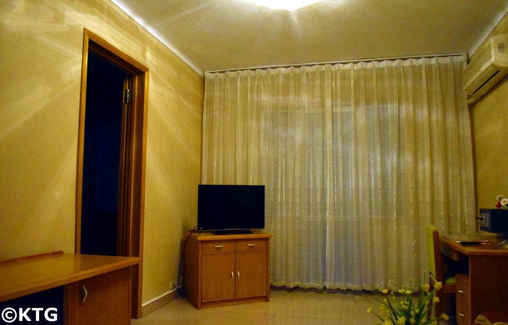 Haebangsan Hotel in Pyongyang, North Korea. This is the office of a first class room in this budget hotel