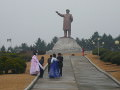 Newly weds celebrate their marriage by President Kim Il Sung statue in Hamhung, the second largest city in the DPRK