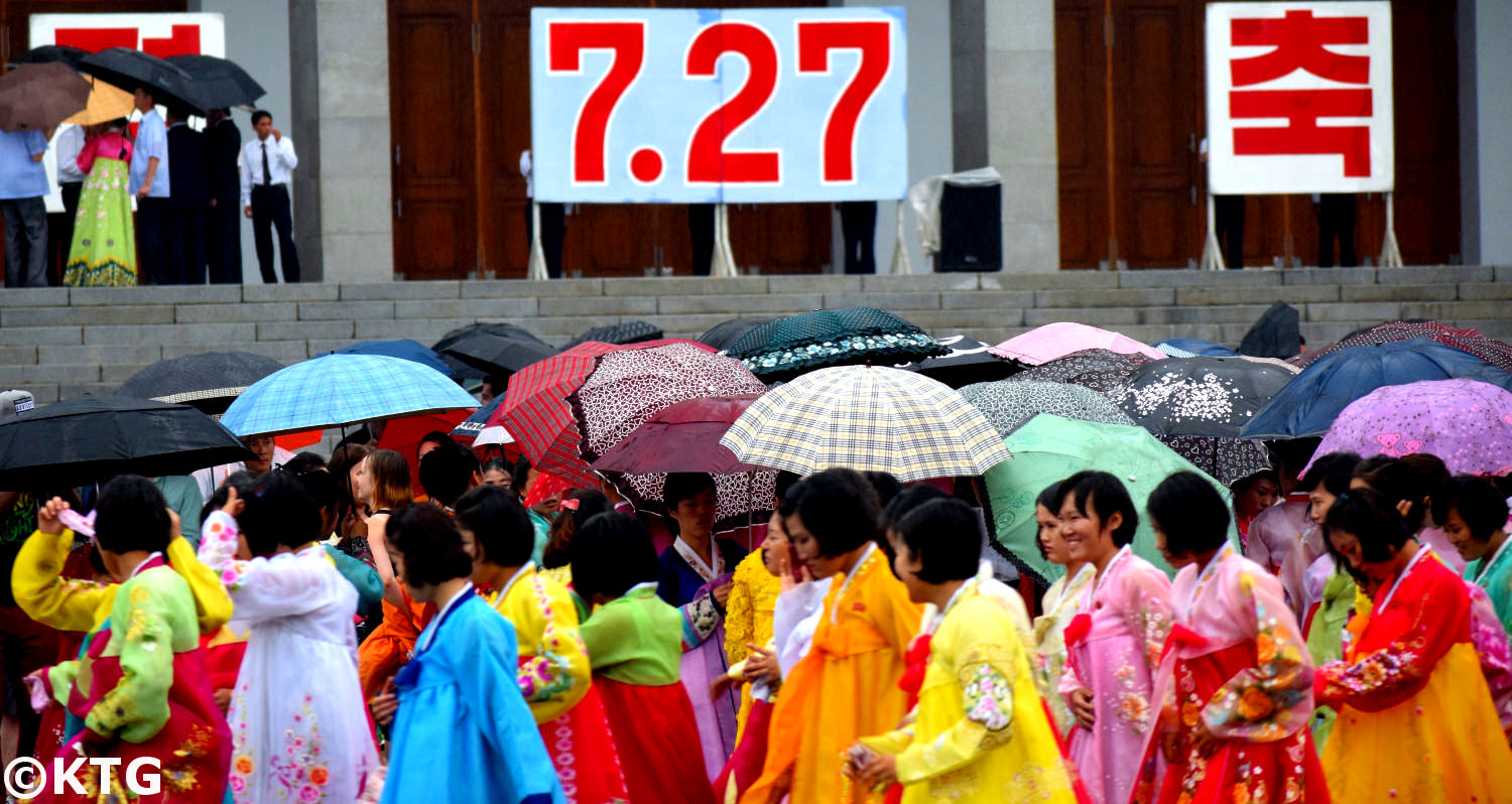 Mass Dances on Victory Day in Pyongyang North Korea (DPRK)