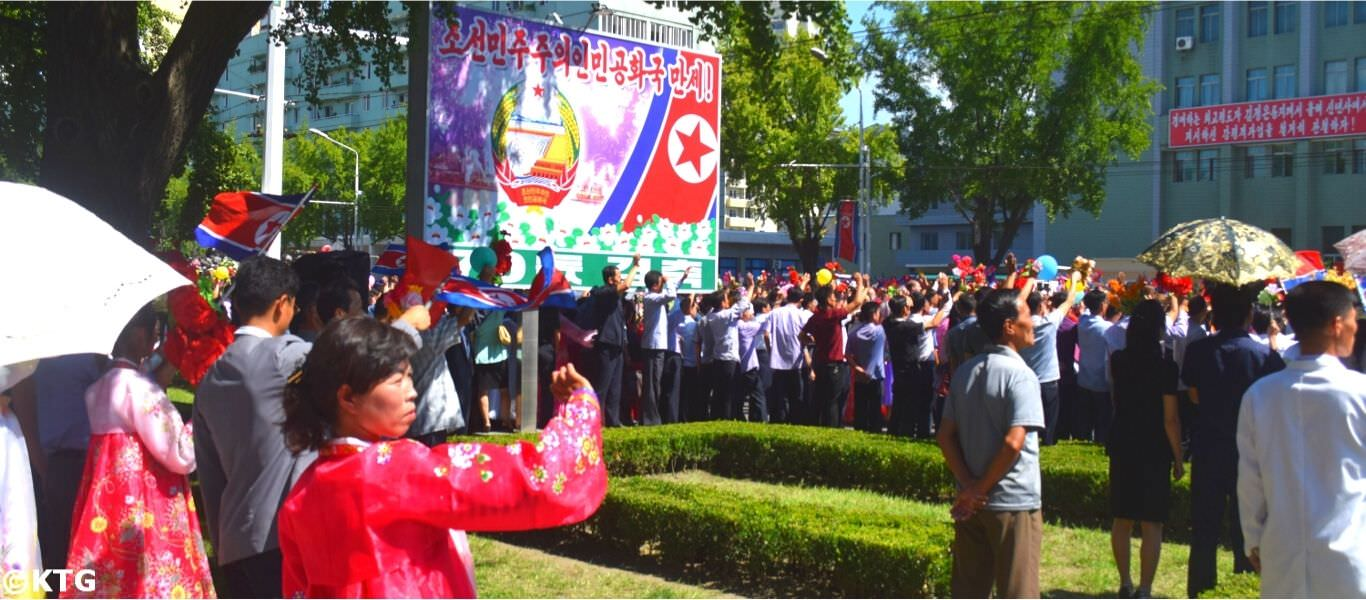 National Day in Pyongyang capital of North Korea. Picture taken by KTG Tours. We took this after a military parade on 9 September 2018 as North Korean soldiers exited the parade and greeted locals in the street. This was a major anniversary in North Korea as it was the 70th Anniversary of the Founding of the Democratic People's Republic of Korea