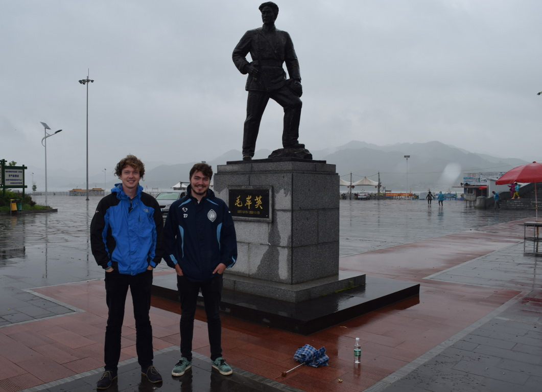 KTG tour leader Tim and traveller Zac at Hekou Village across from North Korea (DPRK)