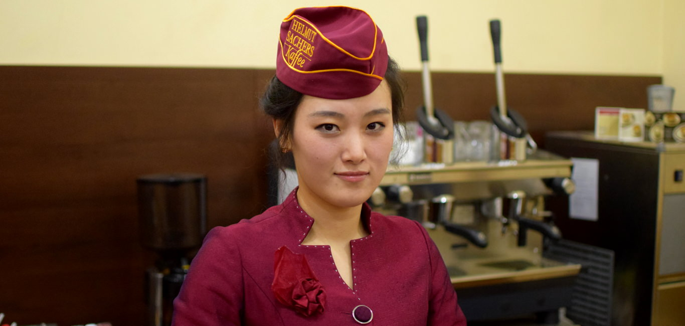 Austrian Coffee Shop Helmut Sachers Kaffe by Kim Il Sung Square in Pyongyang, capital of North Korea (DPRK)