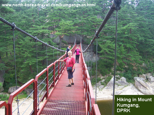 One of our travellers hiking in Kumgangsan in North Korea. KTG Tours arranges day long hikes and camping tours in North Korea