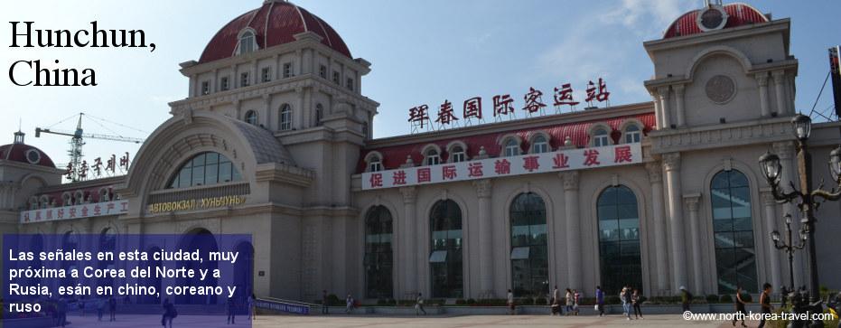 Estación de autobús en Hunchun, ciudad cerca de la frontera con Corea del Norte y Rusia