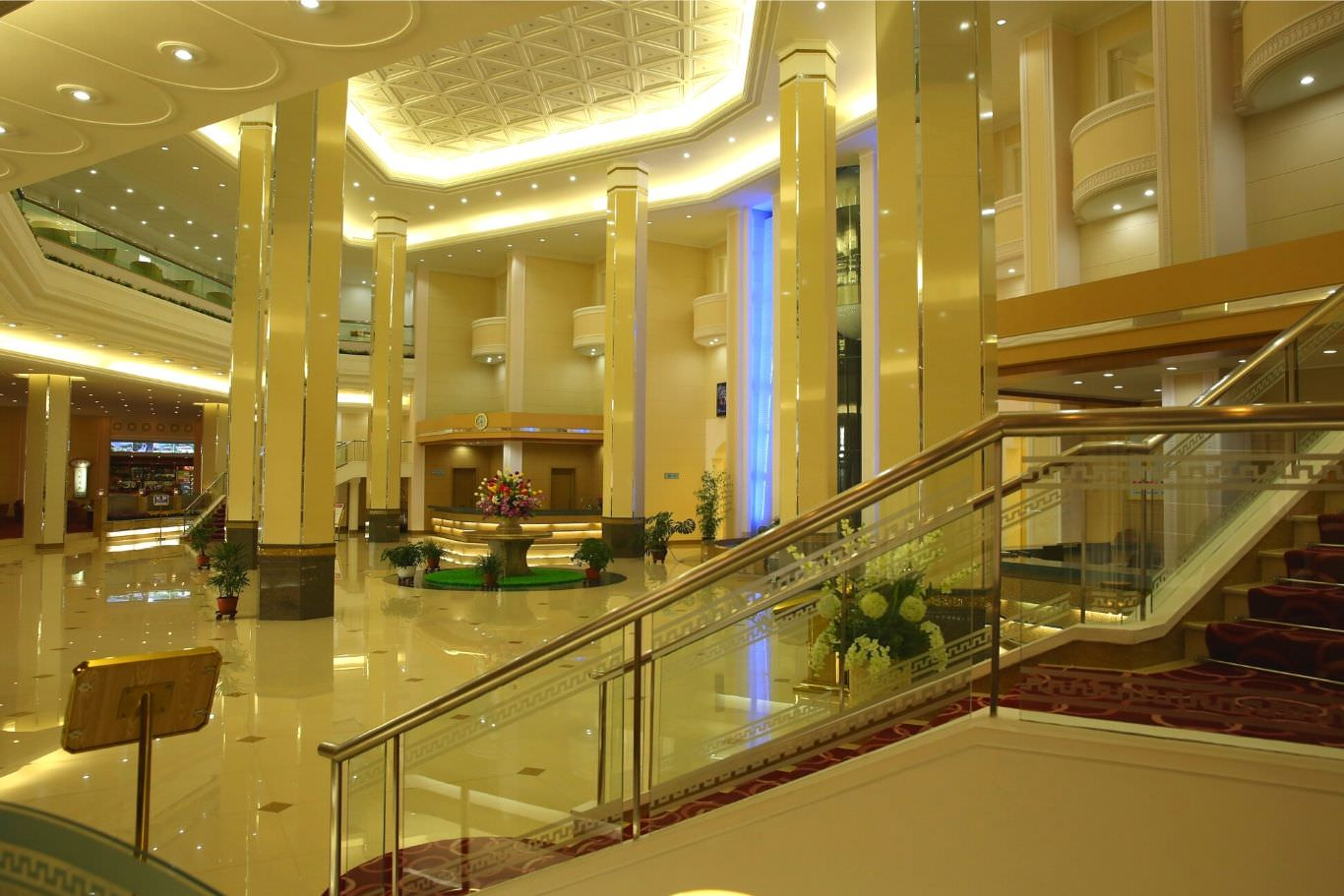 Lobby of the Hyangsan Hotel in North Korea, DPRK. This is one of the most luxurious hotels in North Korea.