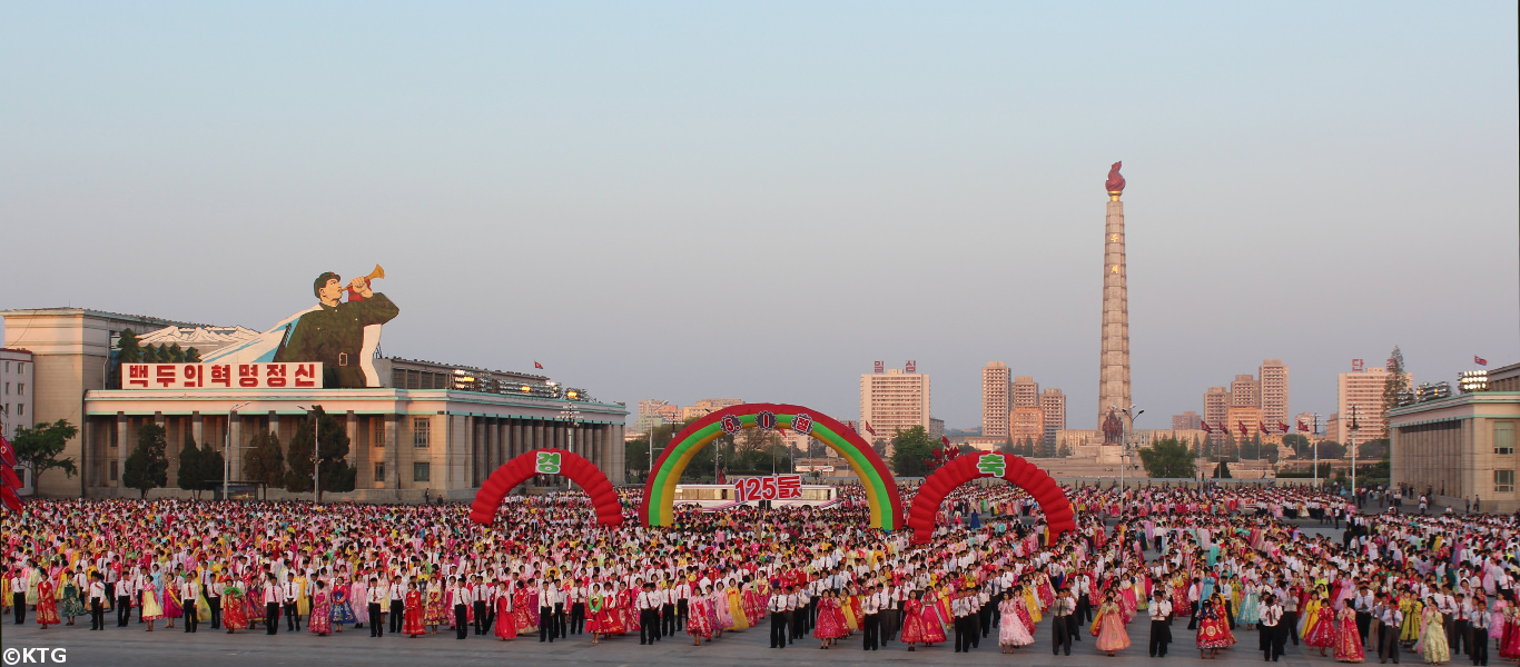 Mass Dances in Kim Il Sung Square right at the heart of Pyongyang