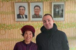 KTG traveller with farmer in her house near Nampo city, North Korea, DPRK