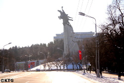 Chollima statue in Pyongyang, North Korea. It represents the rapid reconstruction of the DPRK after the Korean War.