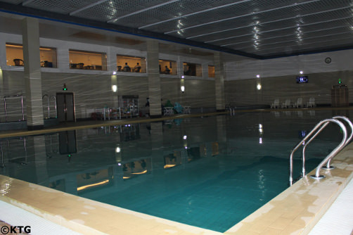 Swimming pool at the Dongrim Hotel in North Korea, DPRK. This deluxe hotel is in Dongrim town, also spelled Tongrim, and we stay here when staying overnight in Sinuiju city, the North Korean border city with China