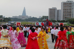 Mass dances on National Day in Pyongyang, North Korea, DPRK. Tour arranged by KTG