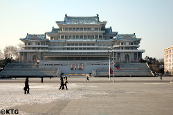 Grand People's Study House seen from Kim Il Sung Square in Pyongyang capital of North Korea. DPRK trip arranged by KTG Tours