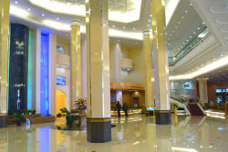 Lobby of the Hyangsan Hotel in Mount Myohyang in North Korea with KTG Tours. This is one of the most luxurious hotels in North Korea, DPRK