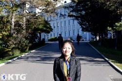North Korean guide at Kim Il Sung University's campus, Pyongyang, North Korea