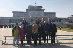 KTG Tours Group at the Square of the Kumsusan Palace in Pyongyang capital of North Korea