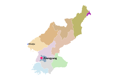 Location of Sinuiju in North Korea, DPRK, on a map. KTG Tours