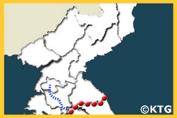 North Korea travel route map with KTG Tours