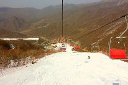 Slope at the Masikryong ski resort in North Korea, DPRK. Trip arranged by KTG Tours